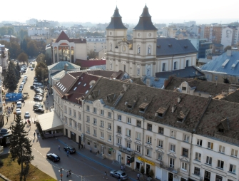 Ivano-Frankivsk from the viewing platform of the town hall