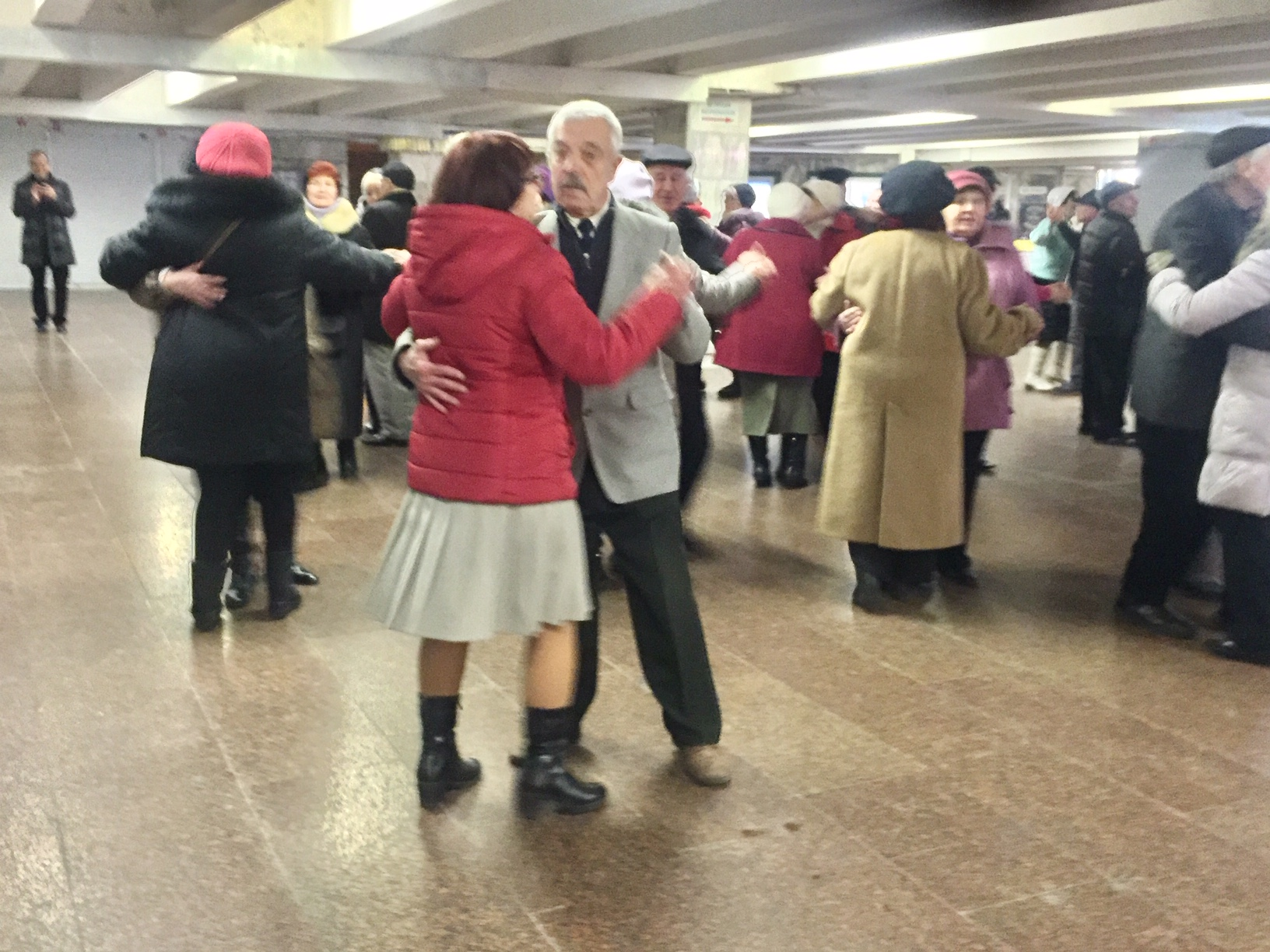 Saturday night dancing Kyiv metro
